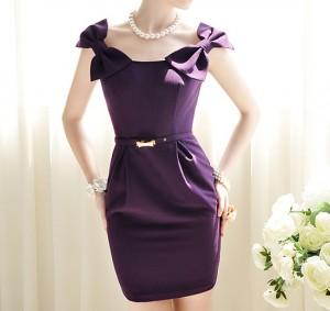 Omuzları-Fiyonklu-Mor-Renk-Elbise-Modeli