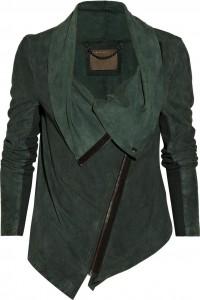 Süet-Koyu-Yeşil-Deri-Ceket-Modeli