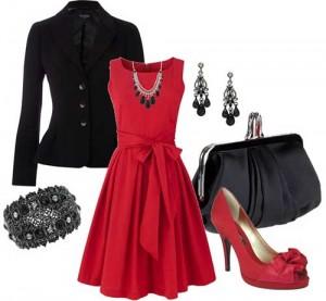 Elbise-Kırmızı-Siyah-Kombinleri