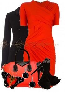 Havalı-Kırmızı-Elbise-Kombinleri