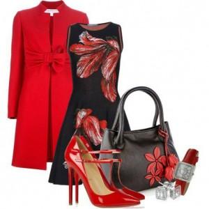 kırmızı-siyah-elbise-kombini